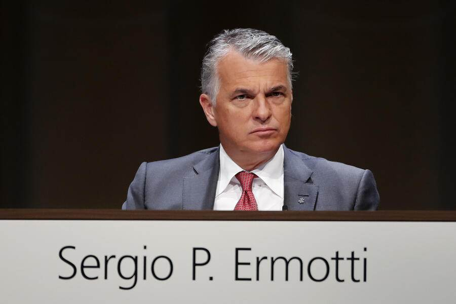 Sergio Ermotti, chief executive officer of UBS Group AG, looks on during the bank's annual general meeting in Basel, Switzerland, on Thursday, May 2, 2019. UBS said earlier this year that it would slow hiring and deepen cost cuts during one of the worst first quarters in recent history, which forced the bank to cut an additional $300 million in costs. Photographer: Stefan Wermuth/Bloomberg via Getty Images