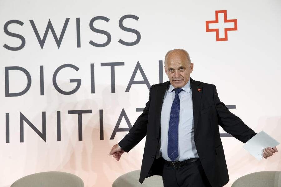 Swiss President Ueli Maurer gestures prior a press conference after the kick-off of Swiss Digital Initiative, in Geneva, Switzerland, Monday, September 2, 2019. (KEYSTONE/Salvatore Di Nolfi)