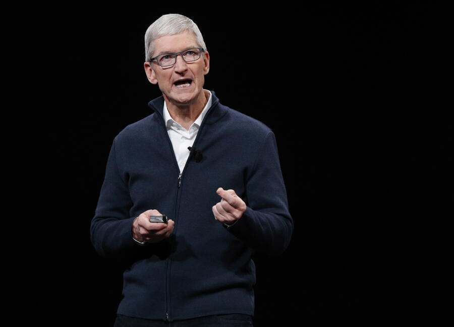 epa07259396 (FILE) - Apple CEO Tim Cook speaks at the start of an Apple
