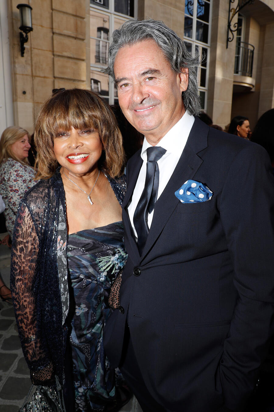 PARIS, FRANCE - JULY 03:  Singer Tina Turner and her husband Erwin Bach attend the Giorgio Armani Prive Haute Couture Fall Winter 2018/2019 show as part of Paris Fashion Week on July 3, 2018 in Paris, France.  (Photo by Bertrand Rindoff Petroff/Getty Images)