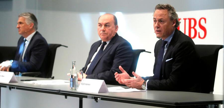 Swiss bank UBS CEO Sergio Ermotti, President Axel Weber and designated new CEO Ralph Hamers give a news conference in Zurich, Switzerland February 20, 2020. REUTERS/Arnd Wiegmann - RC2B4F98S6B0