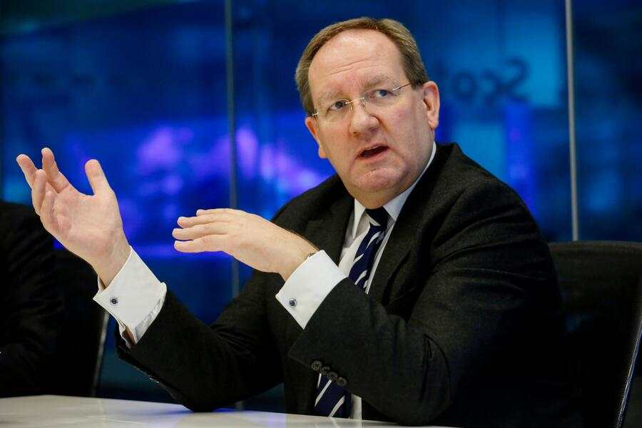 Felix Hufeld, president of BaFin, gestures while speaking during an interview in London, U.K., on Thursday, Feb. 2, 2017. Fintechs shouldn't have a special regulatory regime, Hufeld, head of the German bank regulator, said during the G20 Digitising Finance conference in January. Photographer: Luke MacGregor/Bloomberg