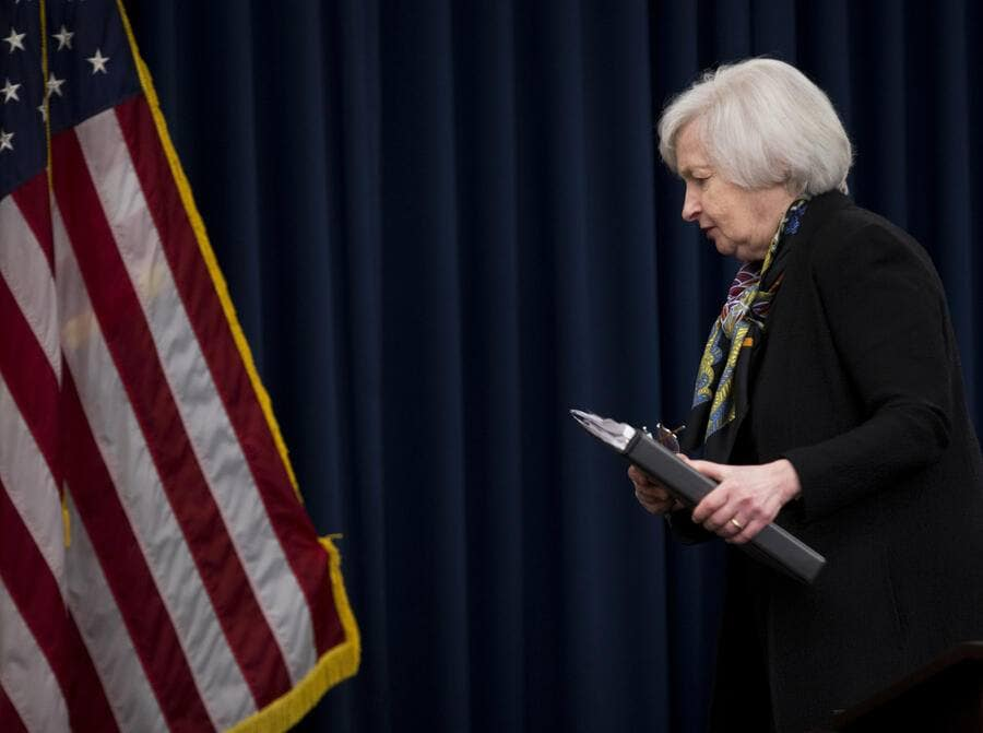 Federal Reserve Chair Janet Yellen leaves a news conference after the Federal Open Market Committee meeting in Washington, Wednesday, March 16, 2016