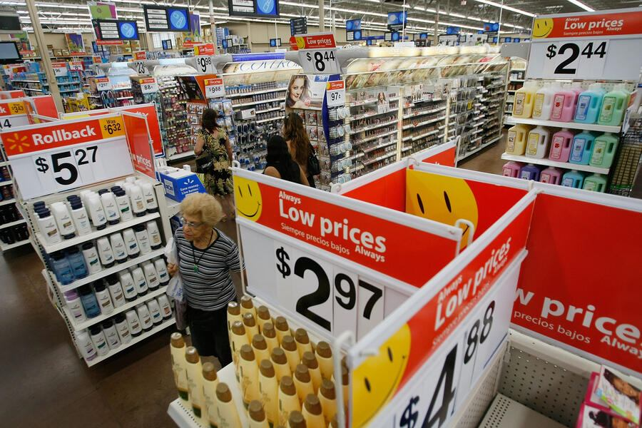 NORTH MIAMI, FL - AUGUST 14:  People shop at a Wal-Mart Store August 14, 2008 in North Miami, Florida. The company reported its second-quarter profit rose 17% and it raised its full-year forecast.  (Photo by Joe Raedle/Getty Images)