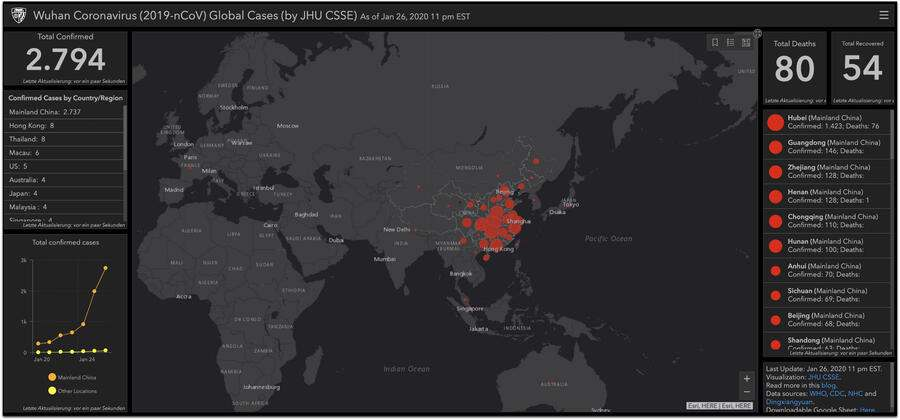Wuhan Coronavirus Map World