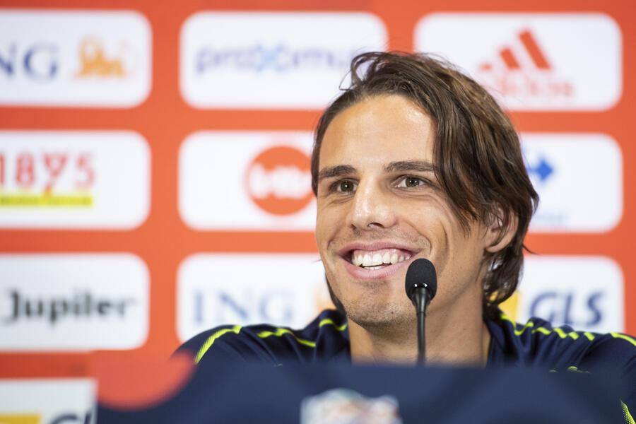 Switzerland's Yann Sommer speaks during the press conference the day before the UEFA Nations League soccer match between Belgium and Switzerland, at the King Baudouin Stadium, Brussels, on Thursday, October 11, 2018. (KEYSTONE/Ennio Leanza).