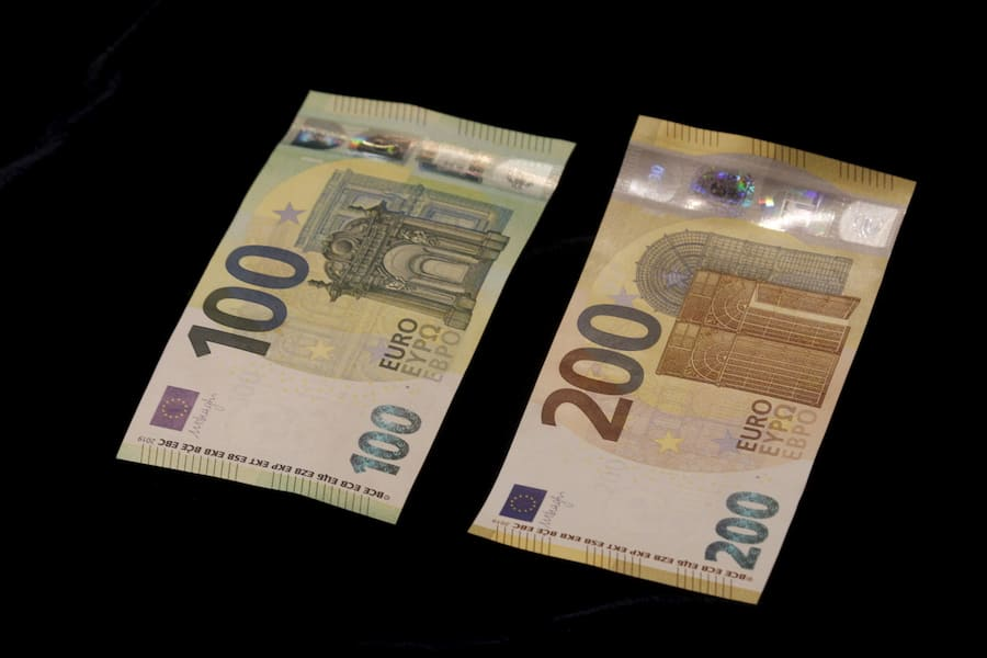 epa07596702 A view of new euro banknotes in Riga, Latvia, 24 May 2019. Latvia will be launching new 100 euro and 200 euro banknotes On 28th May 2019. These are the latest European series of banknotes with refurbished design and advanced security features. EPA/Toms Kalnins