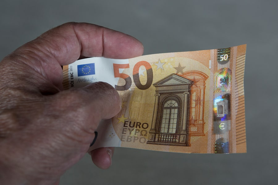 GERMANY, FRANKFURT - JULY 13: Feeling, seeing, titting-a number of important security features on the new 50 Euro banknotes which are circulated in the spring 2017th. The photo shows  the front side of the new banknote. (Photo by Ulrich Baumgarten via Getty Images)