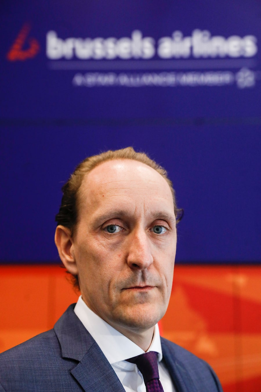Brussels Airlines CFO Dieter Vranckx pictured after an Extraordinary Works Council of Brussels Airlines, Tuesday 12 May 2020 in Zaventem. Brussels Airlines flights are suspended till June 1st in the ongoing corona virus crisis. Staff applied for temporary unemployment. BELGA PHOTO THIERRY ROGE