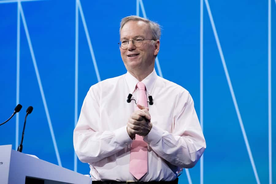 PARIS, FRANCE - JUNE 15:  Eric Schmidt, Executive Chairman of Alphabet inc., the new holding which oversees some activities of Google, attends a conference during Viva Technology at Parc des Expositions Porte de Versailles on June 15, 2017 in Paris, France. Viva Technology is a fair that brings together, for the second year, major groups and startups around all the themes of innovation.  (Photo by Christophe Morin/IP3/Getty Images)