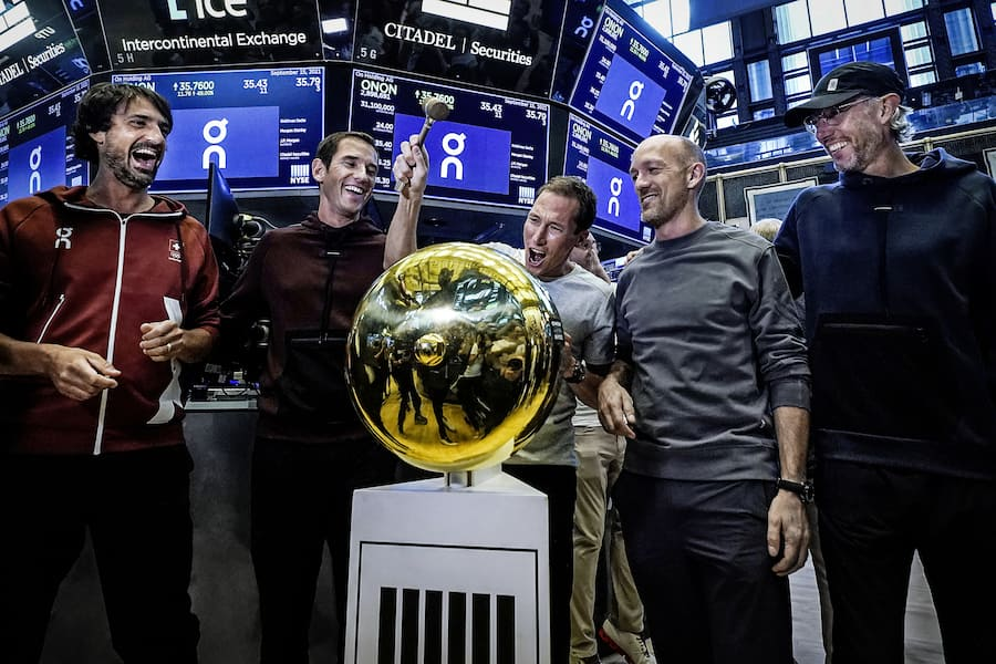 On executives ring a ceremonial first trade bell as their company's IPO begins trading on the floor of the New York Stock Exchange, Wednesday, Sept. 15, 2021. They are, from left: Caspar Coppetti, Martin Hoffmann, Marc Maurer, David Allemann, and Olivier Bernhard. (AP Photo/Richard Drew) David Allemann,Marc Maurer,Olivier Bernhard,Caspar Coppetti,Martin Hoffmann