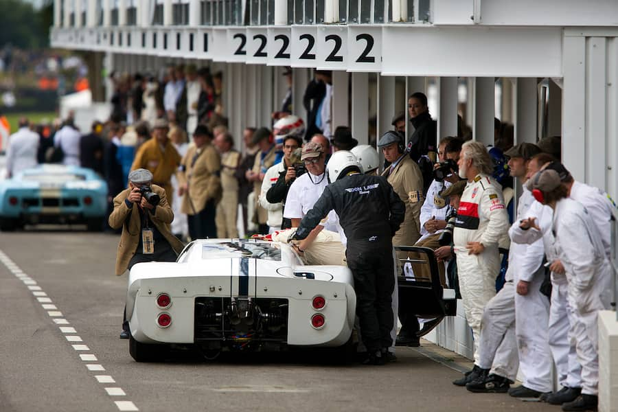 Ford GT40s in pit lane, Whitsun Trophy at The Goodwood Revival Meeting 14th Sept 2013 (Photo by Michael Cole/Corbis via Getty Images)