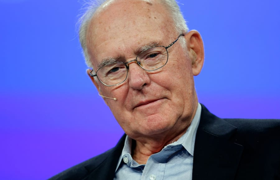 SAN FRANCISCO - SEPTEMBER 18:  Intel co-founder Gordon Moore listens during a conversation with National Public Radio host Dr. Moira Gunn at the 2007 Intel Developer Forum September 18, 2007 at the Moscone Center in San Francisco, California. The Intel Developer Forum runs through September 20th and features several Intel technology speakers.  (Photo by Justin Sullivan/Getty Images)