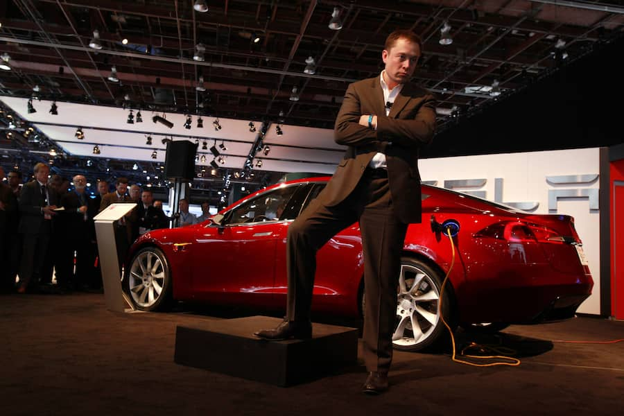 he Tesla Model S sedan has up to 300 miles range per charge and is hoped to be available to the public by 2012, shown at the North American International Auto Show at Cobo Center, Detroit, Tuesday
