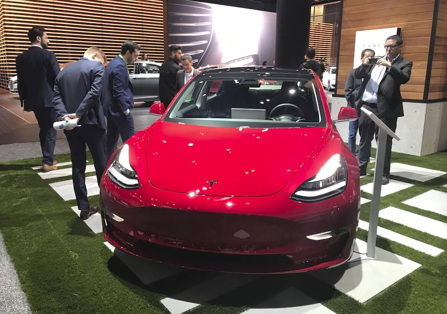 Tesla becomes world s most valuable automaker Photo taken in Los Angeles in November 2017 shows Tesla Inc. s all-electric sedan, the Model 3. The U.S. automaker became the world s most valuable carmaker, overtaking Toyota Motor Corp. in market capitalization on July 1, 2020. PUBLICATIONxINxGERxSUIxAUTxHUNxONLY