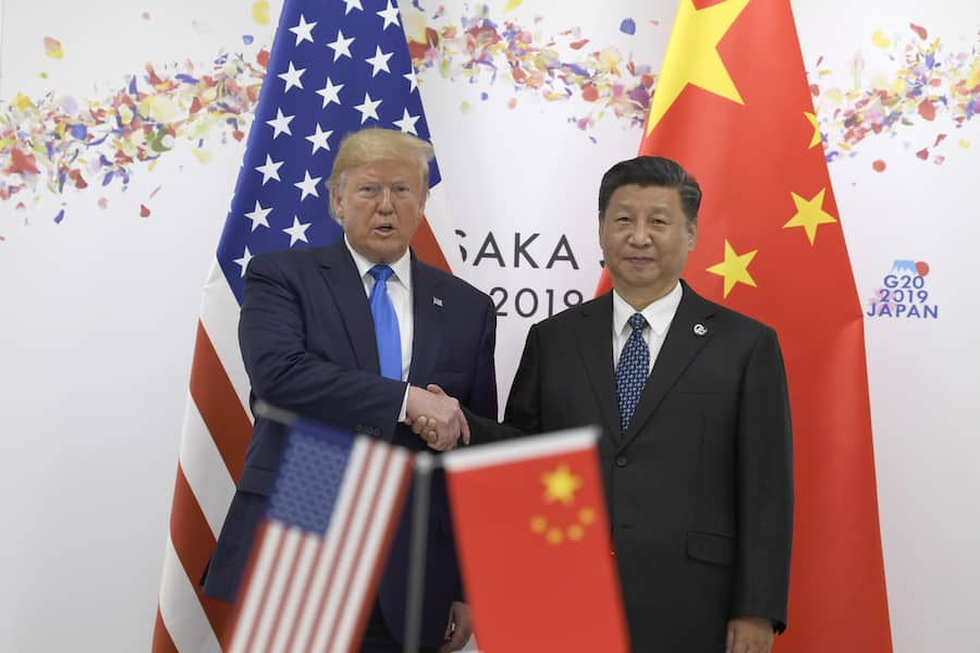 President Donald Trump shakes hands with Chinese President Xi Jinping during a meeting on the sidelines of the G-20 summit in Osaka, Japan, Saturday, June 29, 2019. (AP Photo/Susan Walsh)