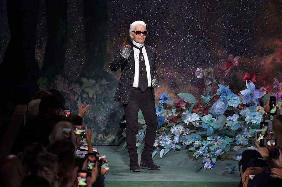 PARIS, FRANCE - JULY 05: Fashion designer Karl Lagerfeld walks the runway during the Fendi Haute Couture Fall/Winter 2017-2018 show as part of Haute Couture Paris Fashion Week on July 5, 2017 in Paris, France. (Photo by Victor VIRGILE/Gamma-Rapho via Getty Images)