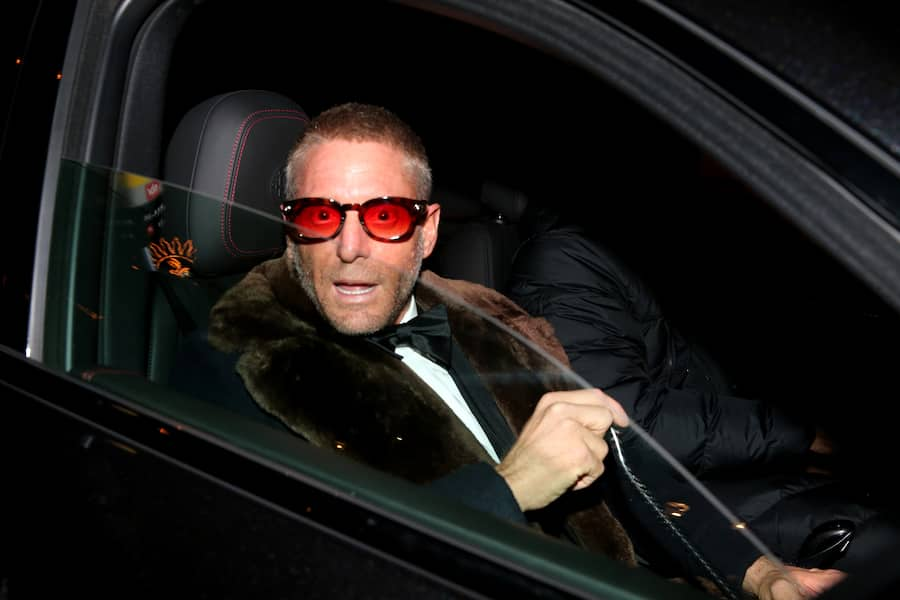 ST MORITZ, SWITZERLAND - 17: Lapo Elkann arrives to the wedding party of Stavros Niarchos III. and Dasha Zhukova on January 17, 2020 at Hotel Kulm in St. Moritz, Switzerland. (Photo by Gisela Schober/Getty Images)