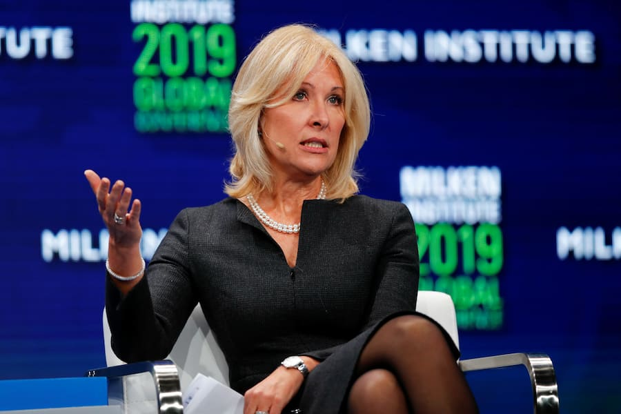 Lara Warner, Group Chief Risk Officer of Credit Suisse, speaks during the Milken Institute's 22nd annual Global Conference in Beverly Hills, California, U.S., April 29, 2019.  REUTERS/Mike Blake - RC1427988910