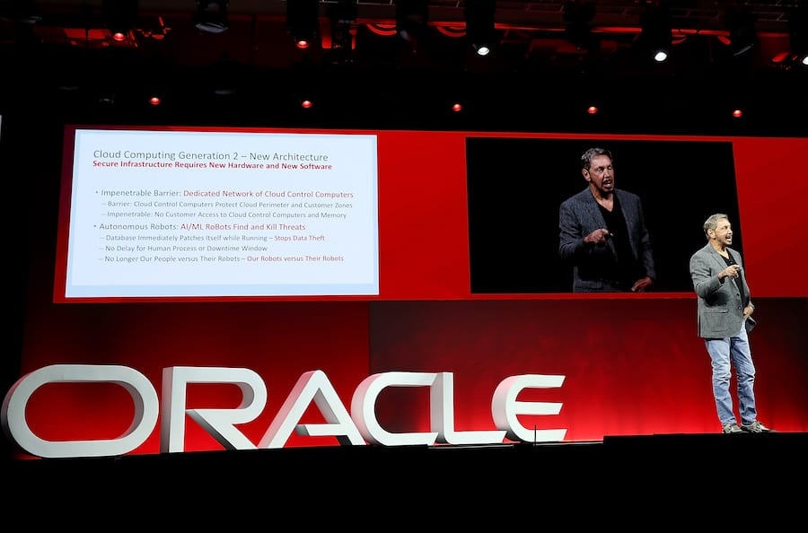 SAN FRANCISCO, CA - OCTOBER 22:  Oracle co-founder and Chairman Larry Ellison delivers a keynote address during the Oracle OpenWorld on October 22, 2018 in San Francisco, California. The Oracle co-founder and Chairman kicked off the annual Oracle OpenWorld conference that runs through October 25th.  (Photo by Justin Sullivan/Getty Images)