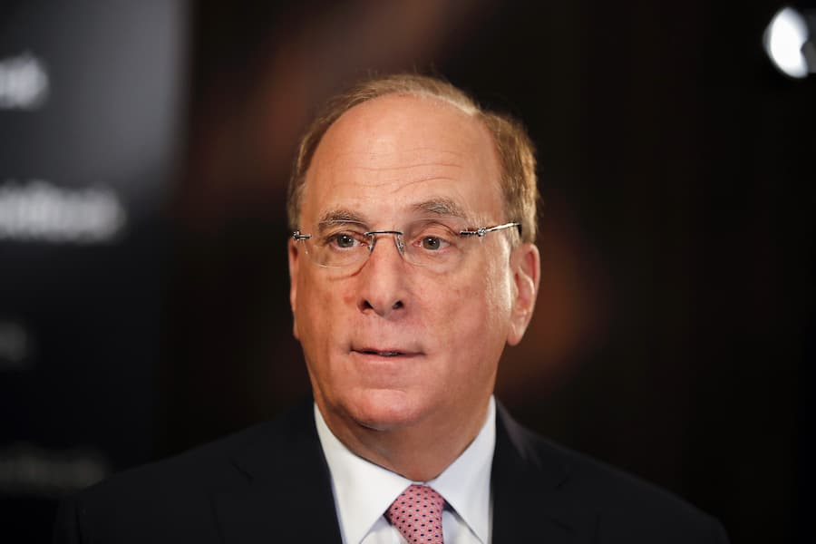 Larry Fink, chief executive officer ofBlackRock Inc., speaks ahead of a Bloomberg Television interview at the Blackrock Inc. wealth symposium in Zurich, Switzerland, on Thursday, March 7, 2019. Policy mistakes such as a hard Brexit pose the greatest risk amid a synchronized global slowdown, according to Blackrock Vice President Philipp Hildebrand. Photographer: Stefan Wermuth/Bloomberg