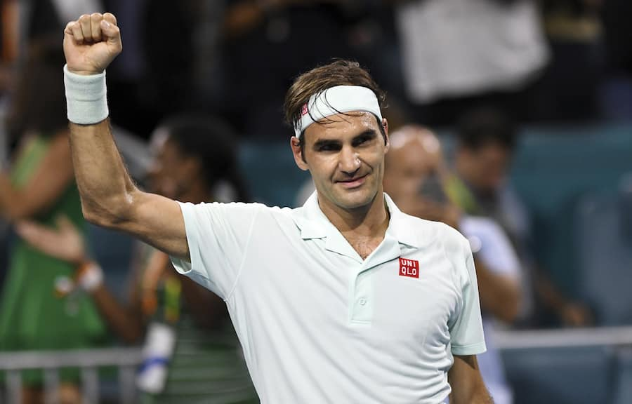 Roger Federer, of Switzerland, celebrates his 6-2, 6-4 win over Denis Shapovalov, of Canada, during the semifinals of the Miami Open tennis tournament Friday, March 29, 2019, in Miami Gardens, Fla. (AP Photo/Jim Rassol)
