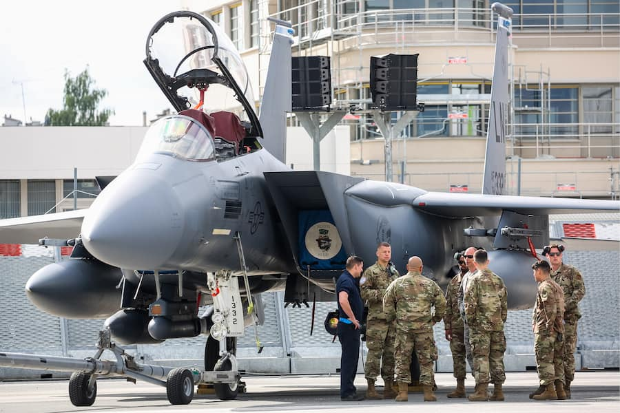 LE BOURGET, FRANCE - JUNE 16, 2019: A US McDonnell Douglas F-15 Eagle fighter aircraft on display the day before the opening of the 2019 Paris Air Show at Le Bourget Airport. Marina Lystseva/TASS (Photo by Marina Lystseva\TASS via Getty Images)