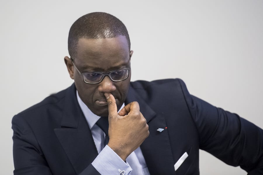Tidjane Thiam, CEO of Swiss bank Credit Suisse, speaks prior the press conference of the full-year results of 2017 in Zurich, Switzerland, Wednesday, Feburary 14, 2018. (KEYSTONE/Ennio Leanza).