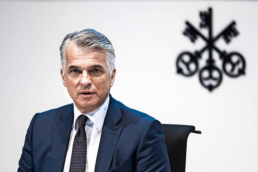 Sergio Ermotti, CEO of Swiss bank UBS, speaks during a press conference announcing the bank's 2019 full year and fourth quarter result in Zurich, Switzerland, on Tuesday, January 21, 2020. (KEYSTONE/Christian Beutler)