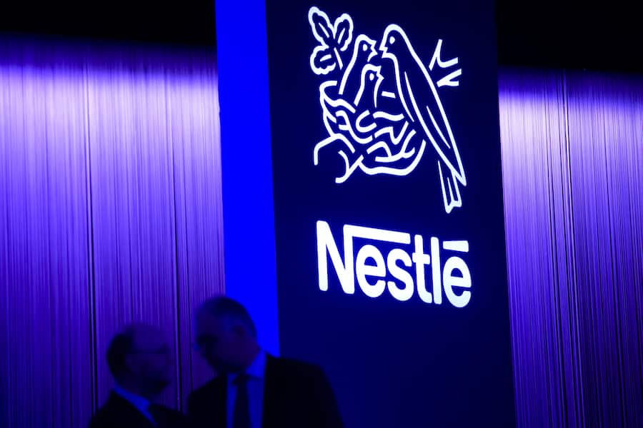 A Nestle's logo is pictured during the general meeting of the world's biggest food and beverage company, Nestle Group, in Lausanne, Switzerland, Thursday, April 12, 2018. (KEYSTONE/Jean-Christophe Bott)
