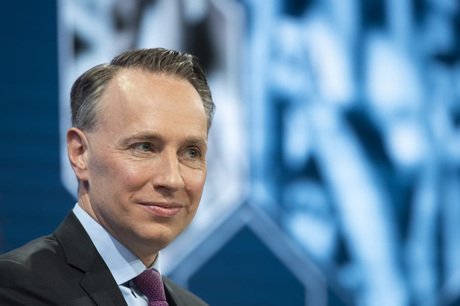 """Thomas Buberl, CEO Axa, pictured during a panel session, during the 49th annual meeting of the World Economic Forum, WEF, in Davos, Switzerland, Thursday, January 24, 2019. The meeting brings together entrepreneurs, scientists, corporate and political leaders in Davos under the topic """"Globalization 4.0"""" from 22 - 25 January 2019. (KEYSTONE/Gian Ehrenzeller)"""