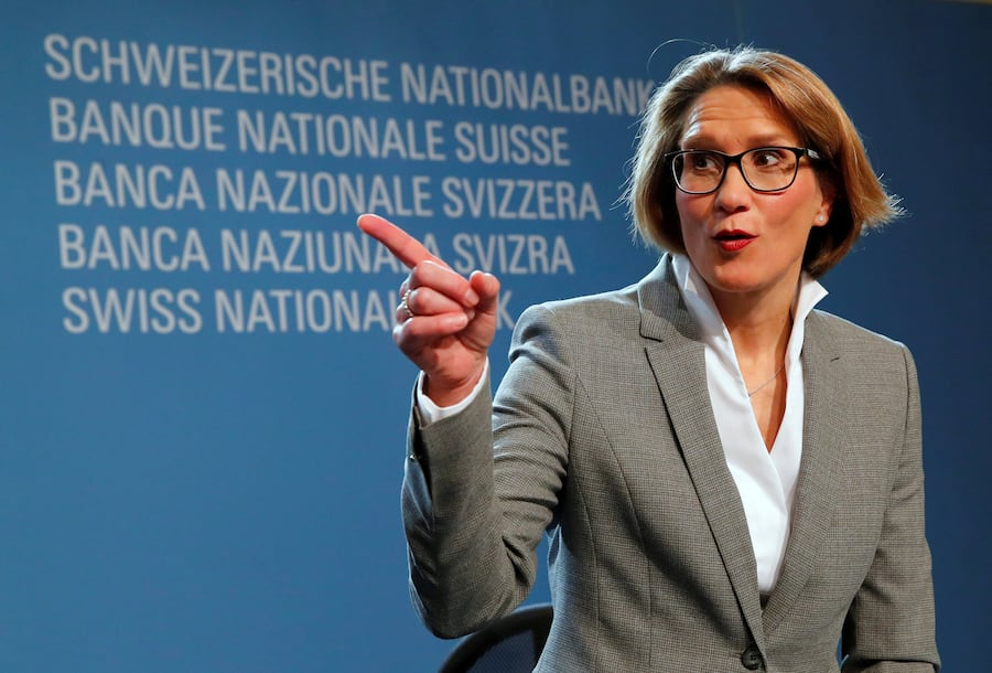 FILE PHOTO: Swiss National Bank (SNB) Governing Board member Andrea Maechler gestures after a news conference in Bern, Switzerland December 14, 2017. REUTERS Denis Balibouse/File Photo