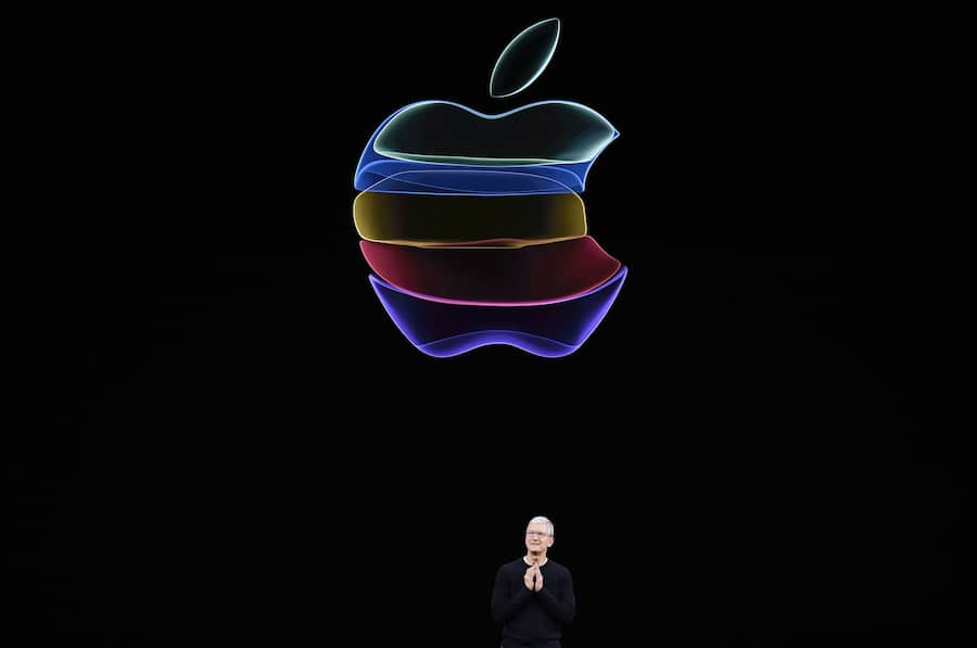 Tim Cook, chief executive officer of Apple Inc., speaks during an event at the Steve Jobs Theater in Cupertino, California, U.S., on Tuesday, Sept. 10, 2019. Apple unveiled the iPhone 11 that will replace the XR and start at $699. Photographer: David Paul Morris/Bloomberg