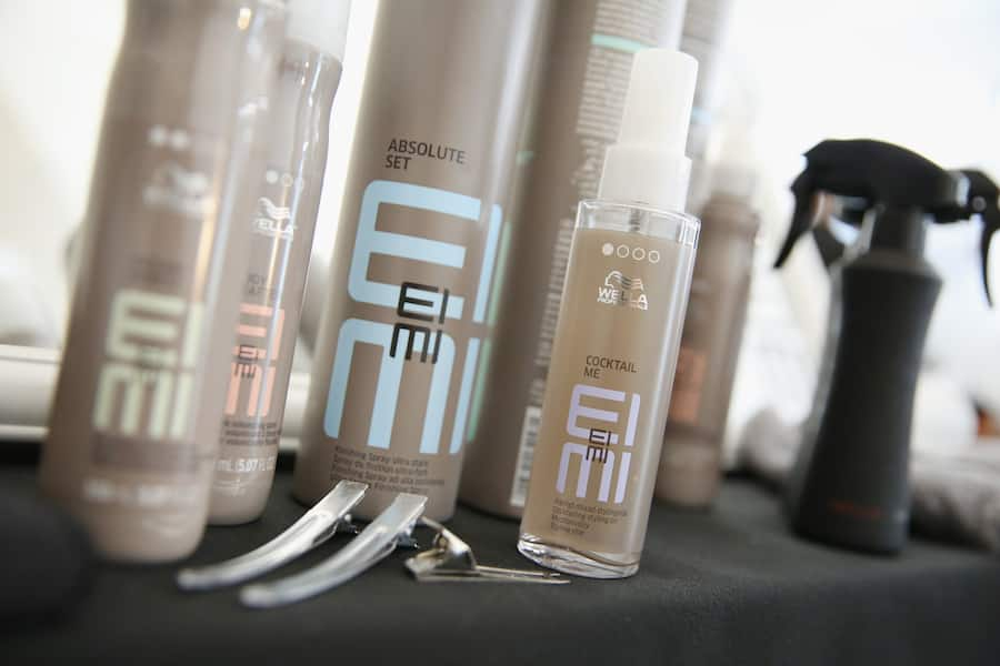 NEW YORK, NY - SEPTEMBER 08:  A view of Wella hair products backstage at the Dion Lee show during New York Fashion Week on September 8, 2018 in New York City.  (Photo by Monica Schipper/Getty Images)